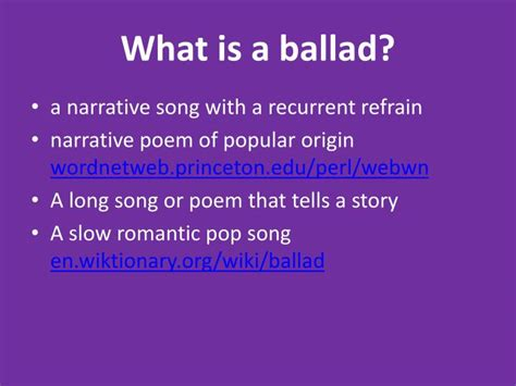 What Is A by Ppt What Is A Ballad Powerpoint Presentation Id 2874880