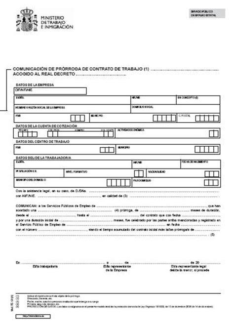 contrato temporal empleadas de hogar 2016 modelos comunicaci 243 n de pr 243 rroga de contrato de trabajo
