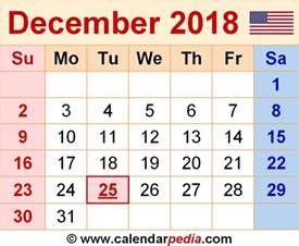 Kalender December 2018 December 2018 Calendars For Word Excel Pdf