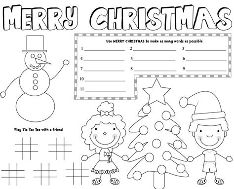 printable xmas placemats christmas placemats free printable christmas games kids