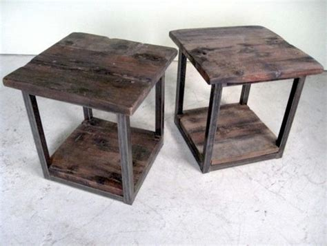 Steel End Table by Rustic Modern End Table With Steel Base Farmhouse Side