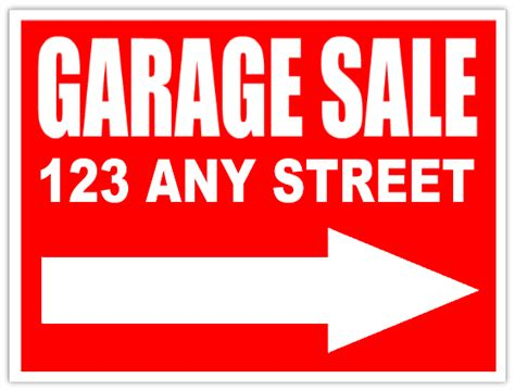 garage sale sign with arrow yard sales ad