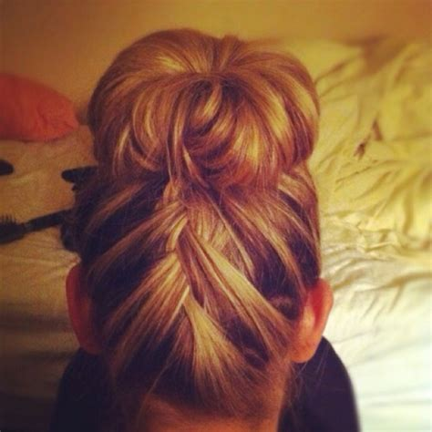 how to back your braids in doughnut bun by the sife sock bun and french braid up the back braid pinterest