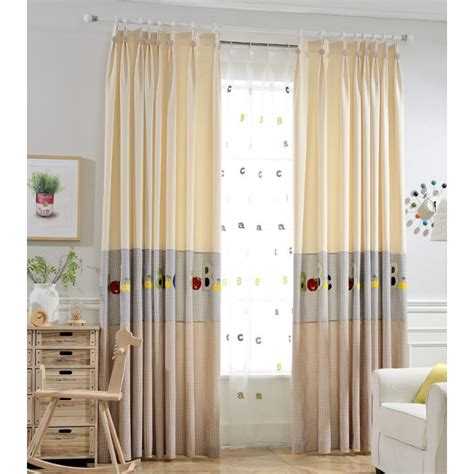 custom kids curtains beige gingham embroidery poly cotton blend custom kids