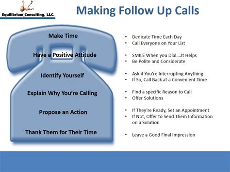 do you follow some simple guidelines when follow up calls equilibrium consulting llc