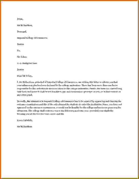 Withdrawal Lease Letter How To Write Admission Acceptance Letter