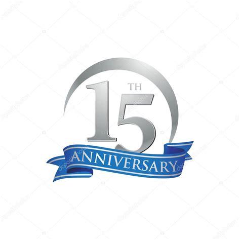 15th anniversary 15th anniversary ring logo blue ribbon stock vector