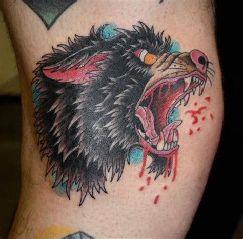 bloody wolf tattoo arm wolf blood by fatink