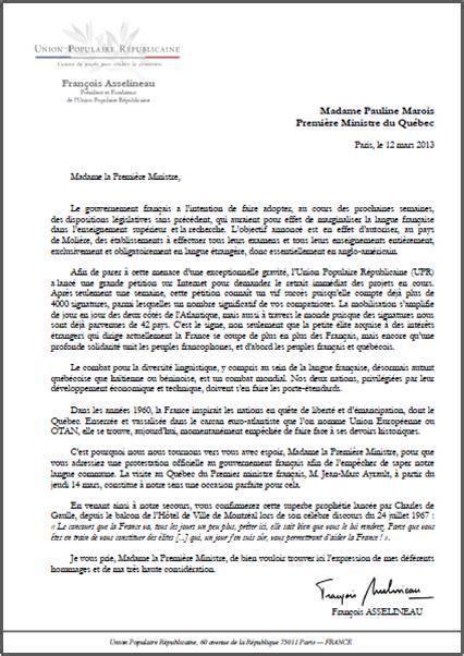 Présentation Lettre Officielle Copie à Lettre Adress 233 E 224 Mme Pauline Marois Premi 232 Re Ministre Du Qu 233 Bec Au Sujet De La Loi Fioraso