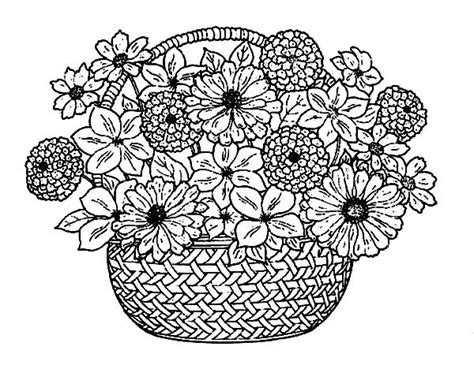 flower bouquet in a traditional basket of flowers coloring