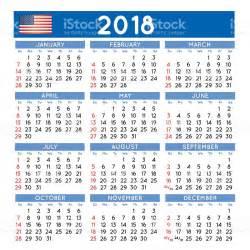 Calendario 2012 Usa 2018 Squared Calendar Usa Stock Vector