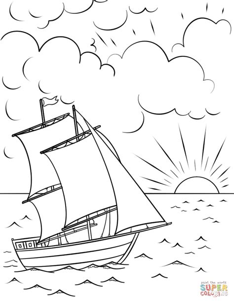 coloring page sunset sailing ship at sunset coloring page free printable