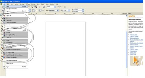corel draw x4 error reading file coreldraw save print and many more commands appear chosen