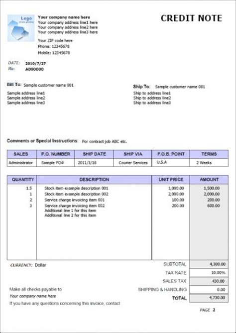 credit note template in microsoft office format techyv