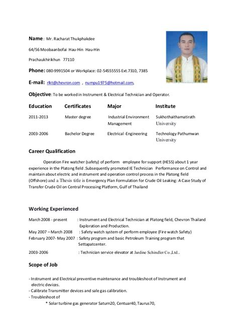 Resume Exles For Electrical Technician Resume Instrument Electrical Technician And Operator
