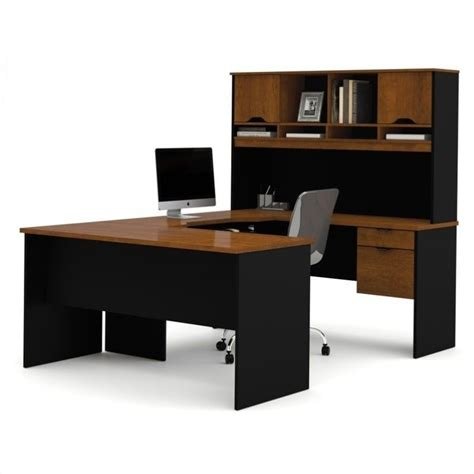 Bestar Innova U Shape Desk In Tuscany Brown And Black U Shaped Desk Plans