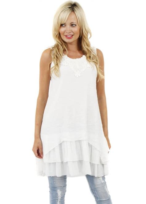 white tunik stella white tunic top layered white tunic top