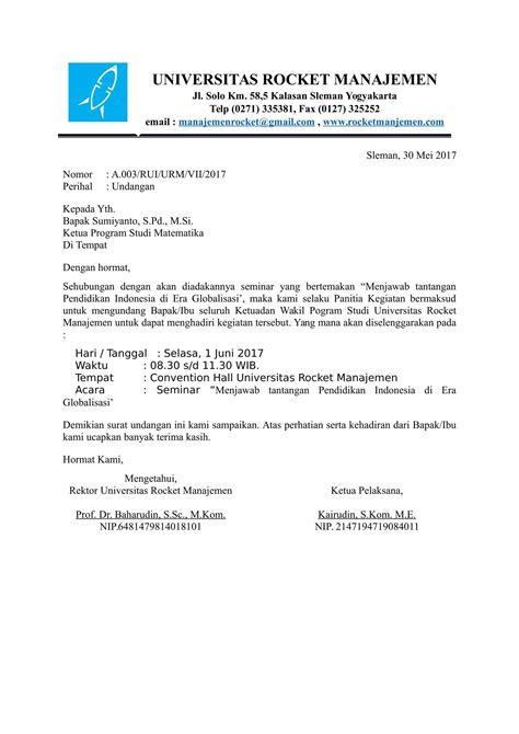 Contoh Undangan Surat Resmi by Contoh Surat Undangan Seminar Untuk Pendidikan
