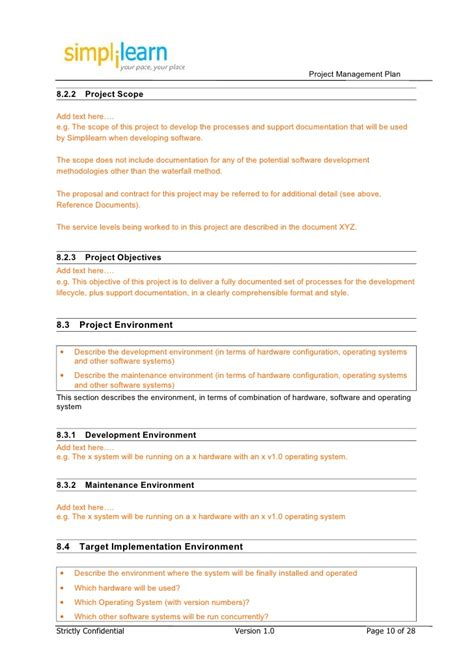 Project Management Plan Template Project Plan Scope Template