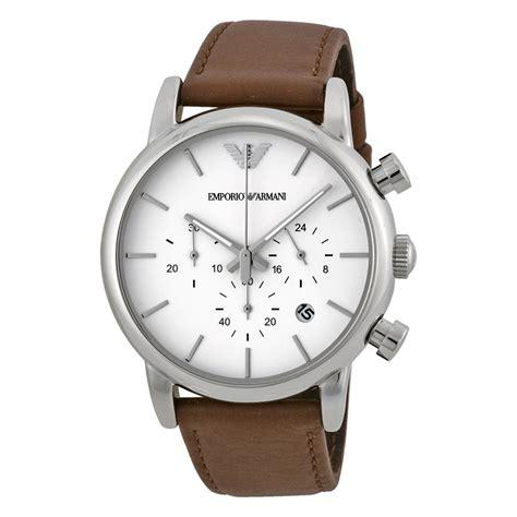 emporio armani chronograph white brown leather mens