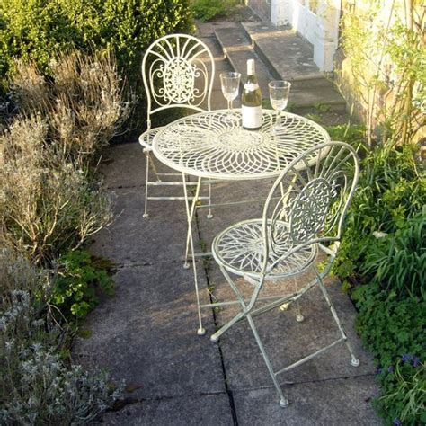 Garden Bistro Table And 2 Chairs Metal Bistro Tea Table And 2 Chairs Homegenies