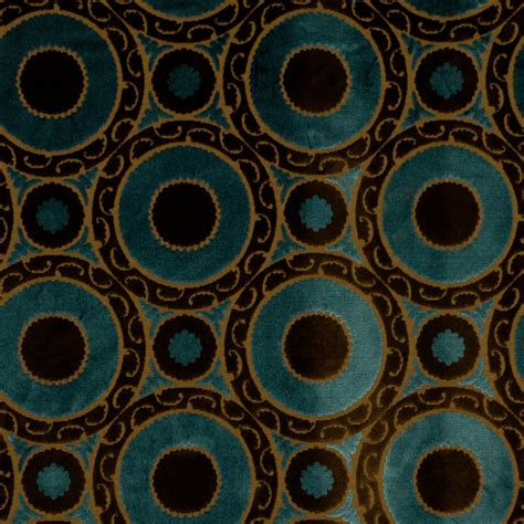 contemporary upholstery peacock blue velvet geometric fabric brown blue suzani