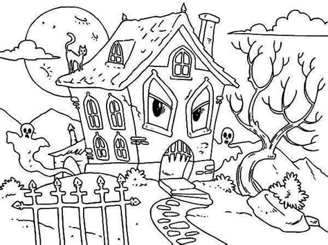 pictuure of haunted house coloring page pictuure of