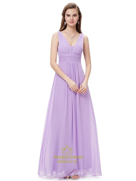 V Neck Chiffon Dress lilac v neck sleeveless chiffon bridesmaid dresses for