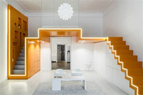 art design studio budapest batlab shapes hungarian bedroom loft with zigzagging light