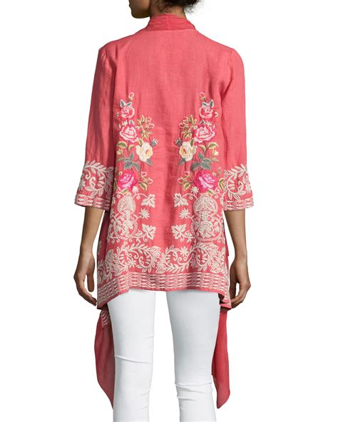 Embroidered Cardigan lyst johnny was michaela draped front embroidered
