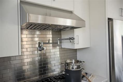 Kitchen Backsplash Stainless Steel Tiles | kitchen with stainless steel mini brick tile backsplash
