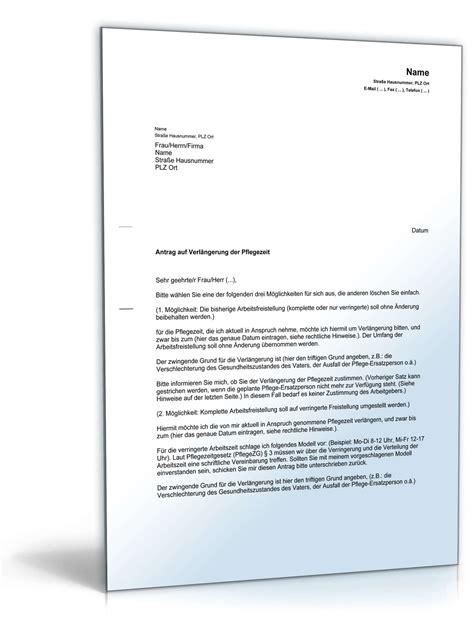 Musterbrief Kündigung Arbeitsvertrag Kostenlos Antrag Verl 228 Ngerung Pflegezeit Vorlage Zum