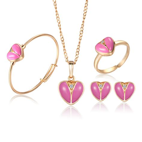 jewelry for children baby jewelry sets 18k gold plated earrings ring for