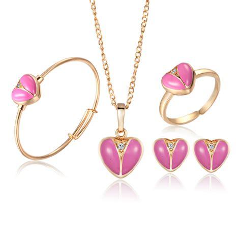 Set Kalung Anting Shape 70411 bayi set perhiasan 18 k berlapis emas anting cincin untuk anak anak liontin jantung kalung set