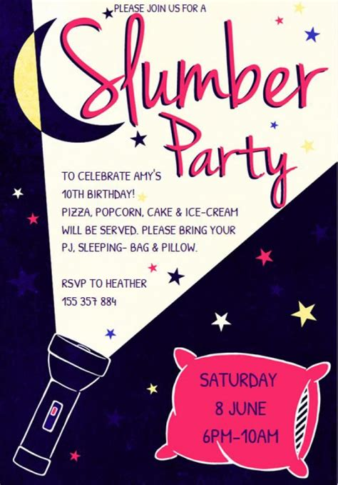 customize a free printable slumber party invitation