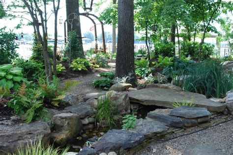 Woodlands Backyard by Woodland Back Garden Reno On Lake Norman Traditional