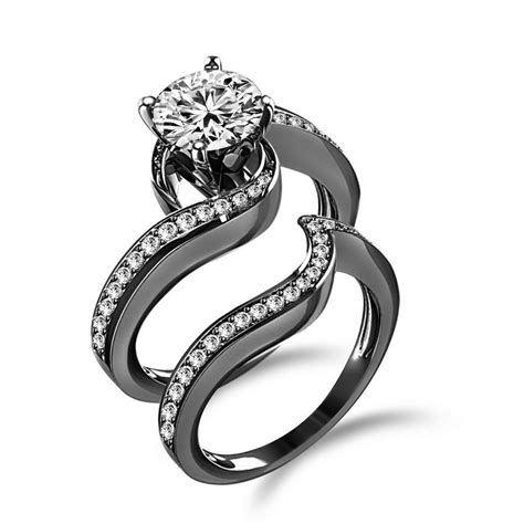 engagement ring with wedding band black rhodium plated