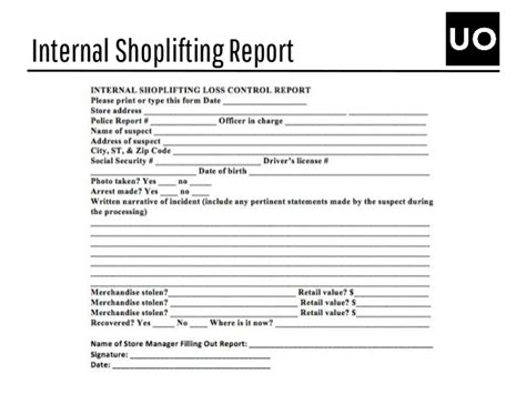 shoplifting detainee report template outfitters crisis communications plan