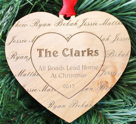 our family personalized heart ornament