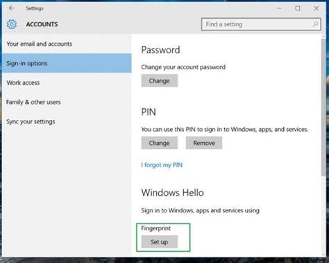 how to set up windows hello fingerprint login