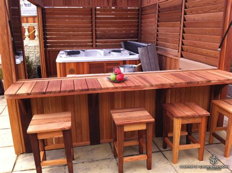 inexpensive diy outdoor hot tub enclosure  bar
