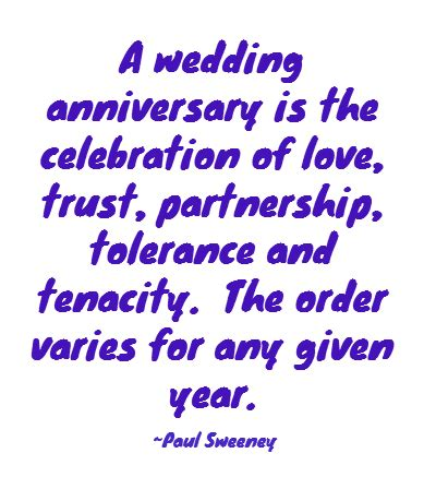 Wedding anniversary is the celebration of love trust partnership