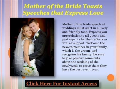 Mother of the bride toasts ? speeches that express love