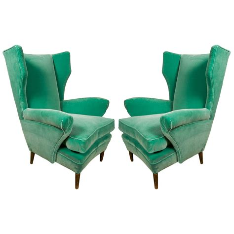 green armchair comfortable pair of green armchairs with rubelli velvet
