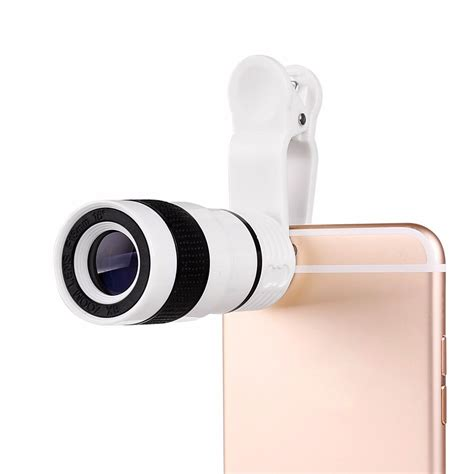 Mobile Phone Telescope Lens 8x Optical Zoom Universal Cl Black 6 8x zoom optical lens telescope universal clip for mobile cell phone