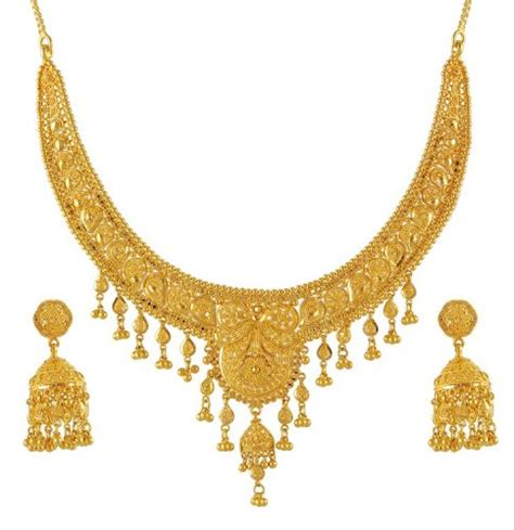 22k gold necklace and earrings set ajst51170 22k gold