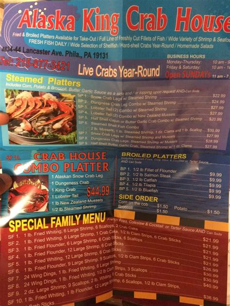 alaskan king crab house menu menu yelp