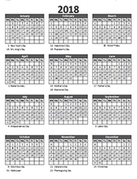2018 business calendar templates download free business