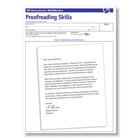 proofreading skills test employment testing