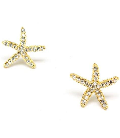 gold rhinestone starfish earrings on luulla